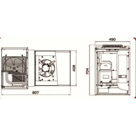 Chambre froide professionnelle 1500 x 1200 mm moteur schéma